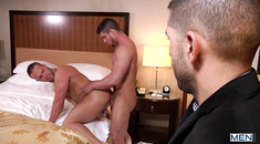 Hot guys fucking with a voyeur watching